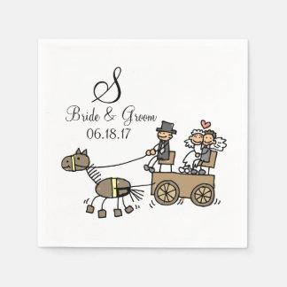 Custom Monogram Wedding Horse Drawn Carriage Disposable Serviettes