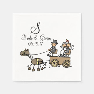 Custom Monogram Wedding Horse Drawn Carriage Disposable Serviettes
