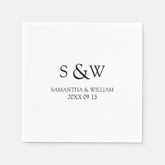 Custom Monogram Wedding Napkins Paper Serviettes