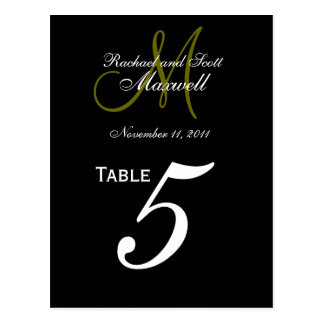 Custom Monogram Wedding Table Number Cards