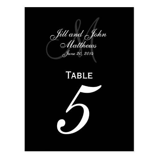 Custom Monogram Wedding Table Number Cards Postcard