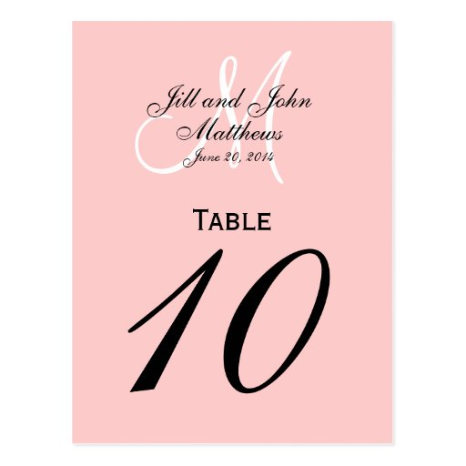 Custom Monogram Wedding Table Number Pink Post Card