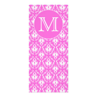 Custom Monogram. White and Pink Damask Pattern. Custom Rack Cards