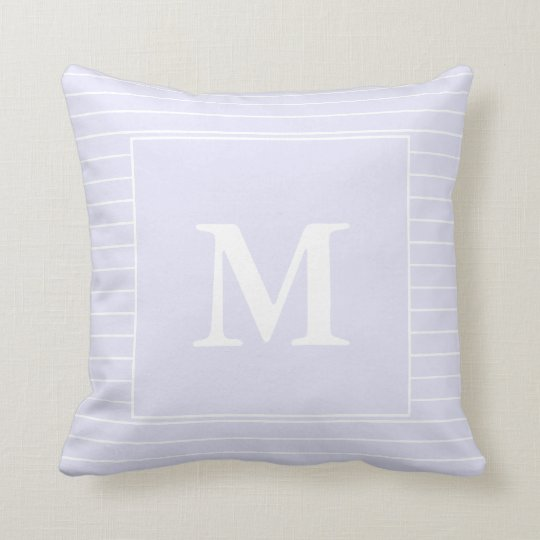 Custom Monogram White Stripes on Lavender Cushion