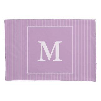 Custom Monogram White Stripes on Lilac Pillowcase