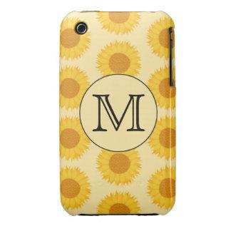 Custom Monogram, with Yellow Sunflowers. iPhone 3 Covers