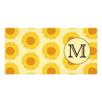 Custom Monogram, with Yellow Sunflowers. Photo Cards