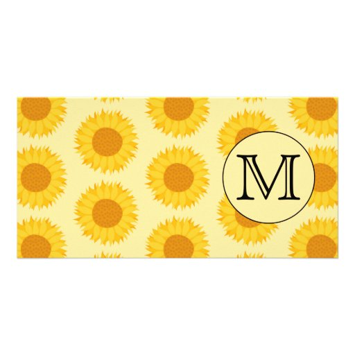 Custom Monogram, with Yellow Sunflowers. Photo Card Template