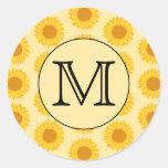 Custom Monogram, with Yellow Sunflowers. Round Stickers