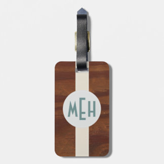 Custom Monogram Wood Pattern Premium Luggage Tag