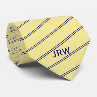 Custom Monogram Yellow and Blue Striped Tie