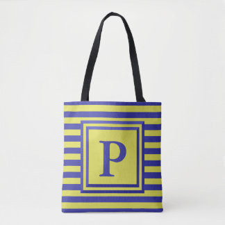 Custom Monogram Yellow and Blue Striped Tote Bag