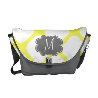 Custom Monogram Yellow and White Art Deco Pattern