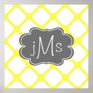 Custom Monogram Yellow and White Art Deco Pattern Poster