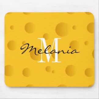 Custom monogram yellow swiss cheese mouse pad