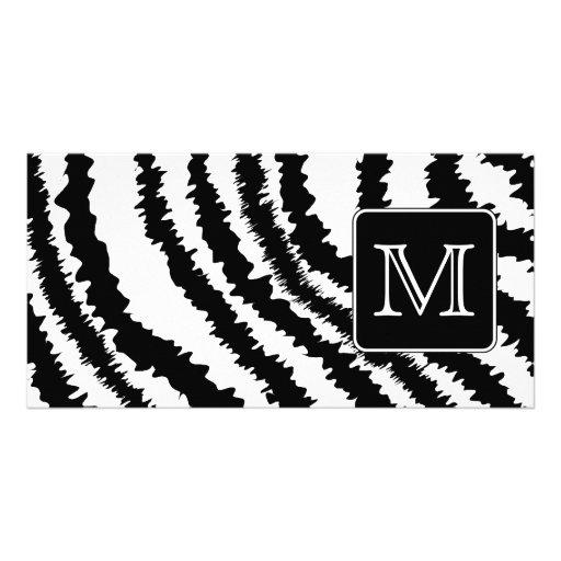 Custom Monogram, Zebra Pattern Animal Print. Picture Card