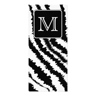 Custom Monogram, Zebra Pattern Animal Print. Rack Card Template
