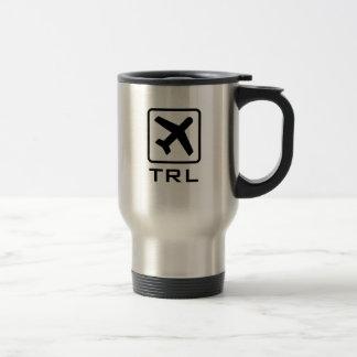 Custom monogrammed airplane symbol travel mug