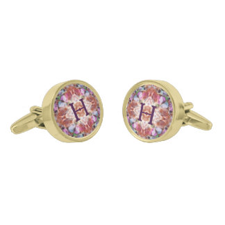 Custom monogrammed colorful cufflinks gold finish cuff links