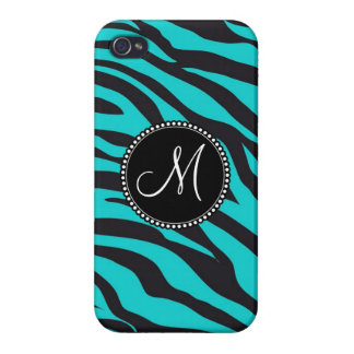 Custom Monogrammed Initial Teal Black Zebra Stripe iPhone 4 Cover