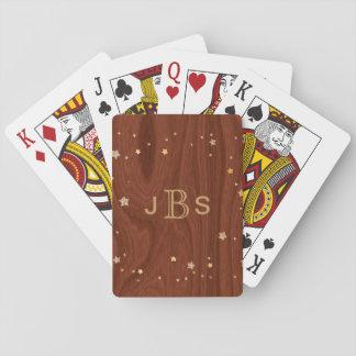 Custom Monogrammed Initials | Mahogany Wood Stars Playing Cards