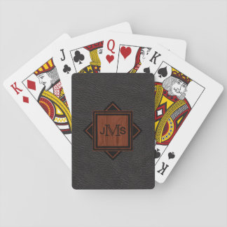 Custom Monogrammed Initials | Rustic Leather Look Playing Cards