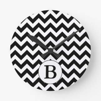 Custom Monogrammed Large Black Chevron Design Round Clock