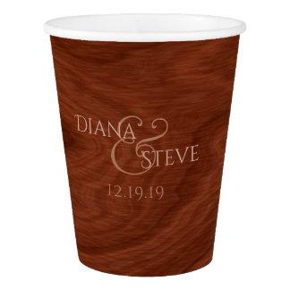 Custom Monogrammed   Rustic Barn Wood Wedding Paper Cup