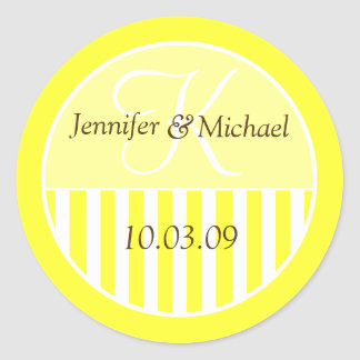 Custom Monogrammed Wedding Favor Labels Round Sticker