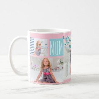 Custom Mothers Day Photo Collage Pink/Blue Basic White Mug