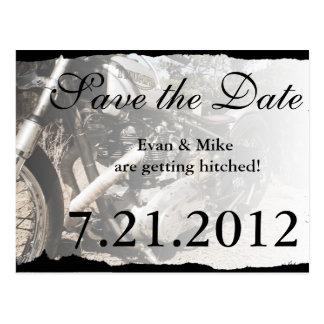 Custom Motorcycle Biker Save the Date Postcard
