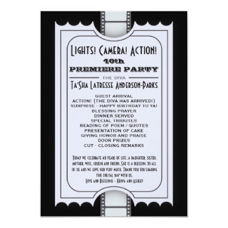 CUSTOM Movie Party Program Admission Ticket 5x7 Paper Invitation Card