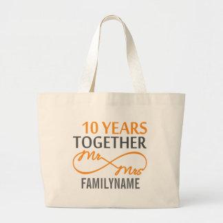 Custom Mr and Mrs 10th Anniversary Jumbo Tote Bag