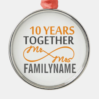 Custom Mr and Mrs 10th Anniversary Silver-Colored Round Decoration