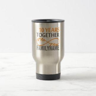 Custom Mr and Mrs 10th Anniversary Travel Mug