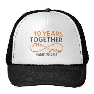 Custom Mr and Mrs 10th Anniversary Trucker Hats