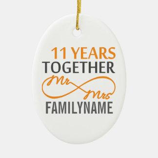 Custom Mr and Mrs 11th Anniversary Ornament
