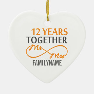Custom Mr and Mrs 12th Anniversary Ceramic Heart Decoration