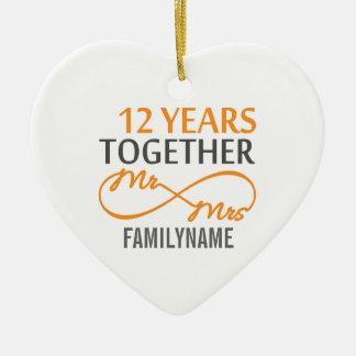 Custom Mr and Mrs 12th Anniversary Ornaments
