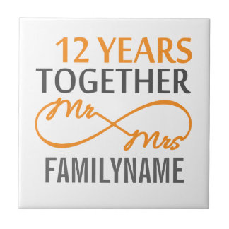 Custom Mr and Mrs 12th Anniversary Ceramic Tiles
