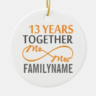 Custom Mr and Mrs 13th Anniversary Ornament