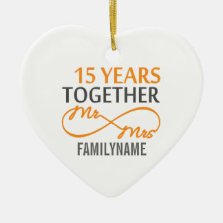 Custom Mr and Mrs 15th Anniversary Ceramic Heart Decoration