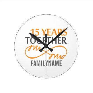 Custom Mr and Mrs 15th Anniversary Round Clock