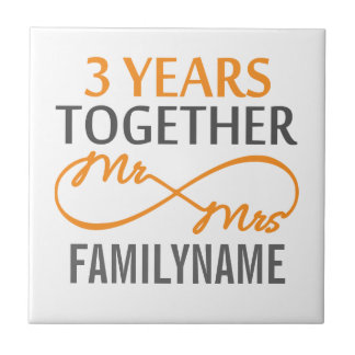 Custom Mr and Mrs 3rd Anniversary Ceramic Tiles