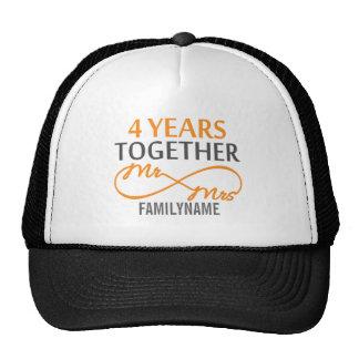Custom Mr and Mrs 4th Anniversary Trucker Hats