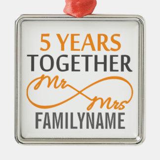 Custom Mr and Mrs 5th Anniversary Ornaments