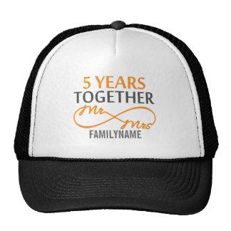 Custom Mr and Mrs 5th Anniversary Mesh Hat