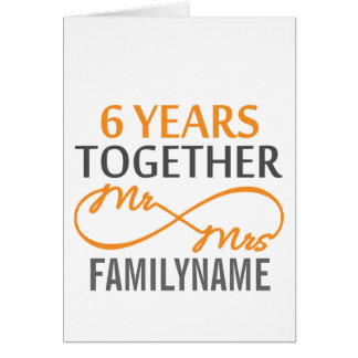 Custom Mr and Mrs 6th Anniversary Greeting Card
