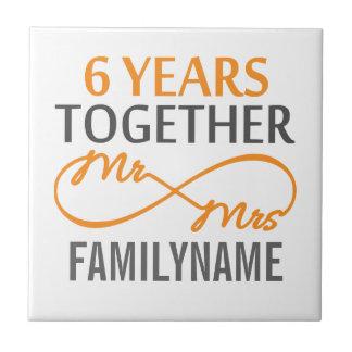 Custom Mr and Mrs 6th Anniversary Ceramic Tile