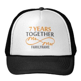 Custom Mr and Mrs 7th Anniversary Hat